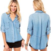 RICHCOCO 2014 new fashion slit pockets decorative dovetail soft after washing loose long-sleeved denim shirt free shipping