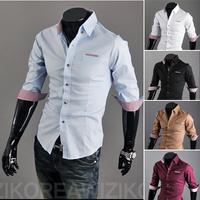 HOT Sales ! Free Shipping 2014 mens Short Shirt Men's Cotton Fashion Half Sleeve Shirt,5 Colors,Turn-down Collar,Thick Patchwork