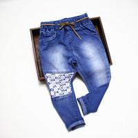 Beautiful splicing hook flower girl lace Jeans