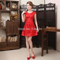 2014  cheongsam red  evening dress cheongsam chinese style vintage formal dress short design paillette lace