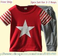 Free Ship Toddler Kids Boy 2-7 Summer Clothing Set 2pcs Set Cotton 100% Short Sleeve Tee Shirt & Pockets Half Pants Fake Zipper