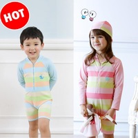 Fashion assorted color Children Boy/girl swimsuit Full sleeve one-piece blue/pink kids swimsuit size 2t-10T