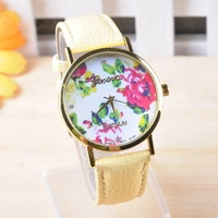 VIP Link--110pc/lot Fashion Leather Geneva Rose Flower Watch For Women Dress Watch GENEVA Vintage Women's Leather Wrist Watches