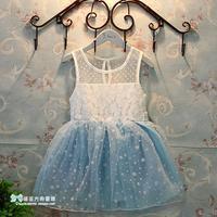 2014 Seconds Kill New Lace Regular Dot Casual Chiffon Cotton Polyester Girls Dress Vestido Elsa Dress Child Height 100 ~ 140cm