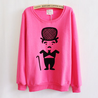 2014 new autumn and winter Chaplin sweatshirt thickened fleece cartoon character pure - women's hoodies