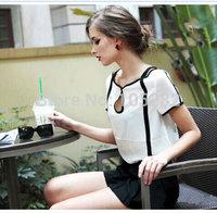 2014 New Arrival Women's Fashion Shirts Europe Modern Vintage Black And White short-sleeve t shirt  Block Chiffon Shirt/Blouses