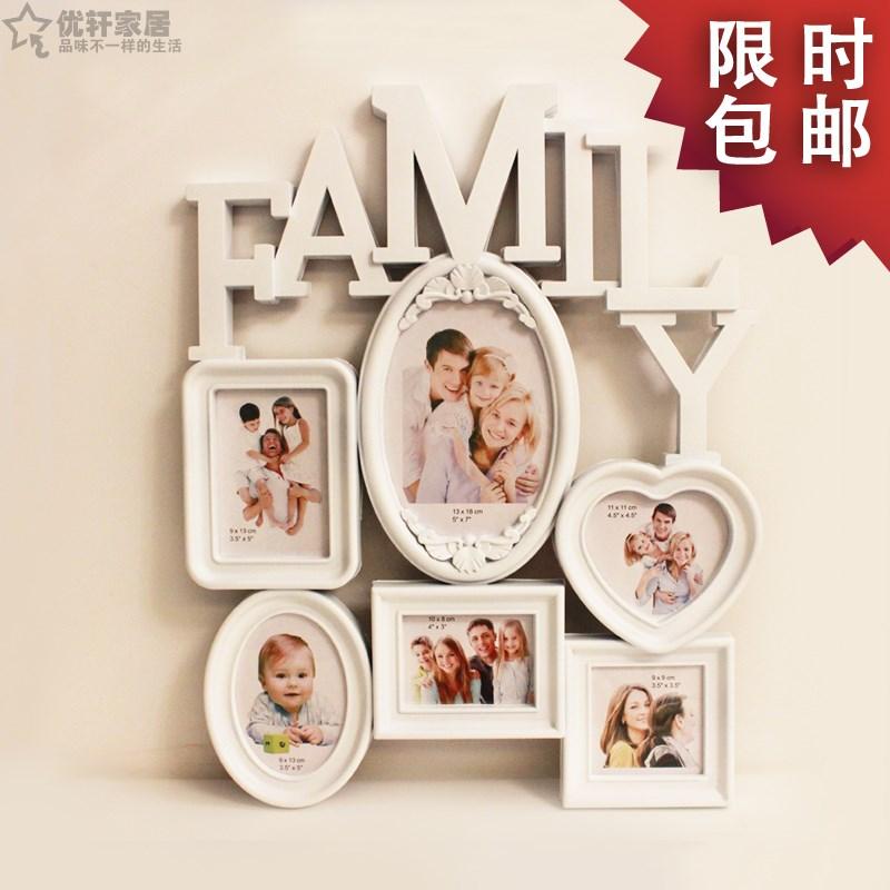Family combination 6 one piece photo frame photos of wall whole fashion photo frame(China (Mainland))