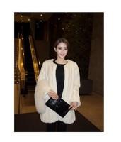 Fall Winter Warm Luxury Overcoats Stripes Ladies Elegant  Imitation Rabbite Hair Fur Jacket New Women's Fur Outerwear Coat A874