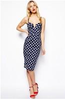 Hot sale XS-XXL Women Casual Navy Blue Polka Dot Deep V Detachable & Adjustable sSraps Dress Free Shipping