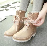 2014 Brand New Korean Style Womens Fashion Short Rain Boots Cute Bowtie Flat Heels Water Shoes Rainboots Summer Galoshes #TR7