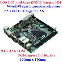 IPC LGA1155 H61 6COM DVI display ATM machine Queue mini itx motherboard M61 DVI VGA dual display 6 RS232 9 USB ATX dual Gigabit