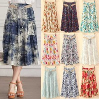 2014 New Bohemia style Maxi Skirt Sashes Flower Prints Pleated A-line Flounce Hem Cotton Linen Girl Summer Bohemian Long Skirt