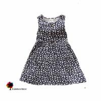 New Summer Female Child  Dark Blue Flowers Cotton Girl Dress Vest Dress Children Clothing