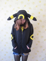 Cosplay Animal Anime Pokemon Monster Umbreon Black Hooded Hoodie Sweatshirts With Ears Tail Adult Women Men Polar Fleece Jacket