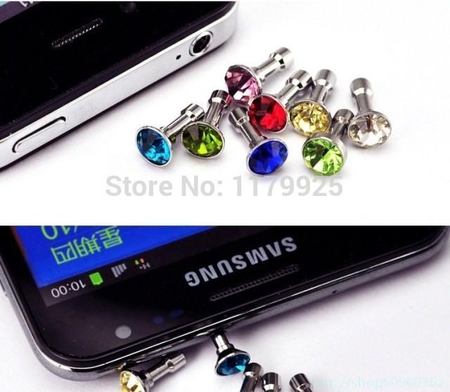 5 шт./лот Бриллианты для отделки пыли универсальный 3.5 мм сотовый телефон подвески для iphone 4s 5S 5с samsung примечание 3 S4 ipad мини