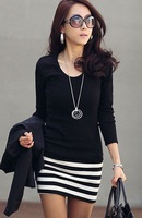 2014 Fashion Stripe Long Sleeve Knit Dress Mini Office Pencil Dress Spring and Autumn Midnight Club Dress 10PCS FREE SHIPPING