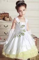 Free shipping 2014 Hot Girls dresses  Retail Waist Chiffon Toddler 3D Flower Tutu Layered Princess Party Bow Kids Formal Dress