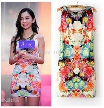 Verão 2014 das mulheres novas moda Vintage Floral Print Dress Sexy vestido roupas baratas da China(China (Mainland))