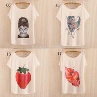 [Magic] 2014 newest style thin plus size batwing sleeve cotton t-shirt women t shirt high quality printing tshirt free shipping