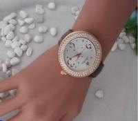 Women Fashion Jewelry, Crystal Rhinestone Bezel Geneva Watches, Leather Star Digital Watch