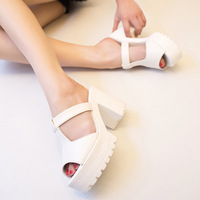 2014 summer brief thick heel cutout net fabric open toe high-heeled shoes gladiator style sandals women slippers,SHO2141
