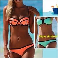 Swimwears Women's Fashion Neoprene Bikinis Woman New Summer 2014 sexy Swimsuit Set bath suit Push Up Bikini Set Hot Sale