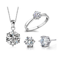 Wedding Fine Jewelry Sets Real Pure 925 Sterling Silver 6 Claw Cubic Zircon CZ Pendant Necklaces Earring Rings Engagement Set