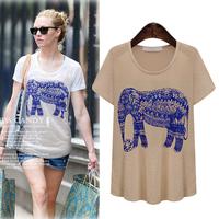 Free Shipping 2014 new animal printing  Figure loose summer women t-shirt bottoming shirt
