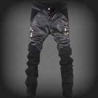 Free shipping 2014 New Men's Spring top sale cool surging Long trousers fashion casual jeans pencil pants pu jeans