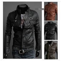 2014  New Men's Leather Jacket Korean Style Catwalks Shall Slim Fit Leather Jacket PU High Quality Casual Male Jacket