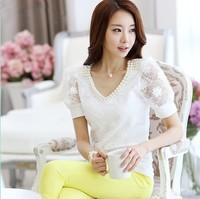 S-XXL 2014 New Fashion OL Style Ladies Short Sleeve Tops High Quality Beading V-neck Lace Chiffon Women Blouses White Shirts8038