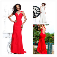 Flowers Beaded Crystal White/Red Evening Dresses 2014 New Arrival Elegant Party Dress Long Evening Gown With Free Shipping