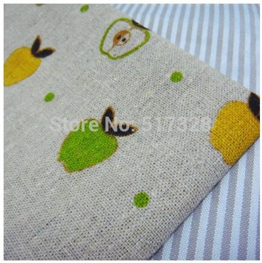 "Free Shipping! ZAKKA Green Yellow Apple Printed Linen Cotton fabric Patchwork Fabric Wholesale - 61"" 1 Meter(China (Mainland))"
