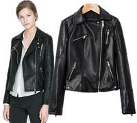 European and American women's jackets brand design black leather jacket fashion ladies zipper motorcycle jacket slim outerwear