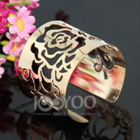 2014 Punk Metal Hollow  Rose Flower Cuff Bangles Fashion Bracelets Jewelry Wholesale 6pcs/lot