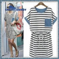 100% cotton women new fashion clothing blue patchwork striped knitting denim dress slim waist maxi shirt pocket dresses 2014