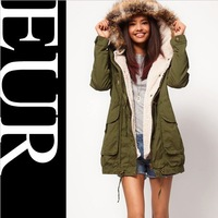 New Faux Fur Hooded Army Green Outwear Winter Autumn Overcoat Large Big Size thickening coat Jacket for Women a+ Parka