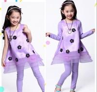 Children's clothing 2014 summer medium-large female child lace organza princess child set