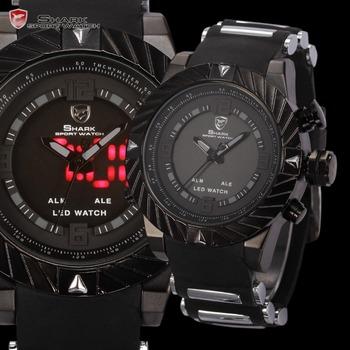 Акула новое из светодиодов дисплей несколько часовой пояс сигнализация черный силиконовый ремешок Relogio мужчины спорта военно кварцевые часы / SH165