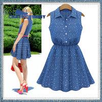 2014 summer new fashion slim waist shirt collar sleeveless dress clothing ruffles dot stars print denim dresses for women S-XL