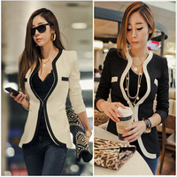 Free Shipping 2014Fashion Winter Women Slim Coats Casual Jackets Long Sleeve V-Neck Black White One Button Suit Outerwear
