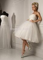 New Design Fashionable Tea Length Short White Ivory Tulle Wedding Dress Custom Size Romantic Gown