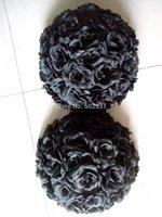 15pcs/lot black rose ball wedding flower decoration-kissing ball-25cm