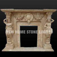 Natural beige marble indoor decorative fireplace screens