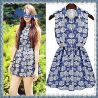 Summer new fashion brand cotton print sun flowers slim waist sleeveless dress bohemian beach denim jeans dresses for women 2014