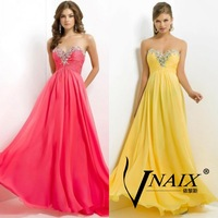 Vnaix EV041 Luxury DHL Free Shipping Crystal Chiffon Women Long Formal Evening Dresses Gown