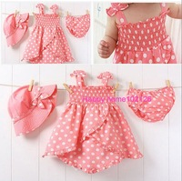 Wholesale Baby girl dress hot selling READY STOCK 3 sizes 3 in 1 dress hat+dress+ pants