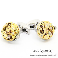 Accesories Men, NM0971 Golden Steampunk Cufflinks with Small Round Identical Vintage Movement Watch Movements