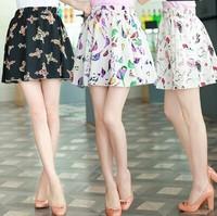 10 Color Women Skirts Summer New 2014 Fashion Korean Floral Print Chiffon Cute Casual Short Mini Skirt Saias Femininas Sheer