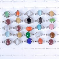 New 2014 Wholesale Lots 25pcs Woman Natural Assorted Rhinestone Silver Ring  #57302